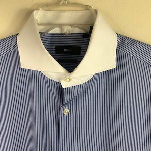 Hugo Boss Striped Dress Shirt White Collar 16.5